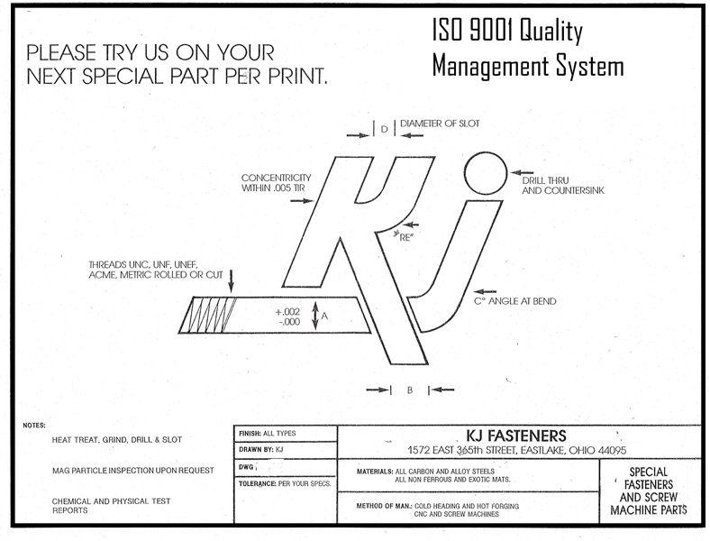 Special Fasteners Per Print - KJ Fasteners, Inc